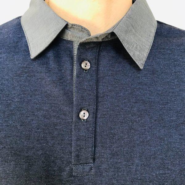 Polo bleu patte de boutonnage
