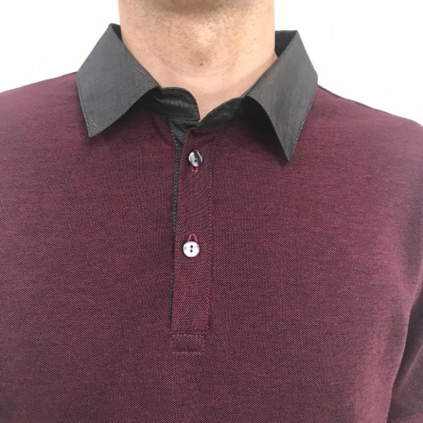 Polo bordeaux col